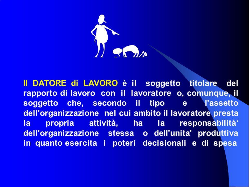 Il DATORE di LAVORO è il soggetto titolare del rapporto di lavoro con il lavoratore o, comunque, il soggetto che, secondo il tipo e l'assetto dell'org