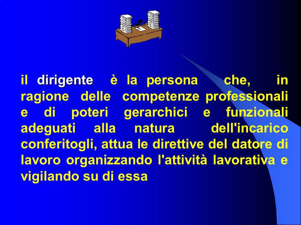 dirigente il dirigente è la persona che, in ragione delle competenze professionali e di poteri gerarchici e funzionali adeguati alla natura dell'incar