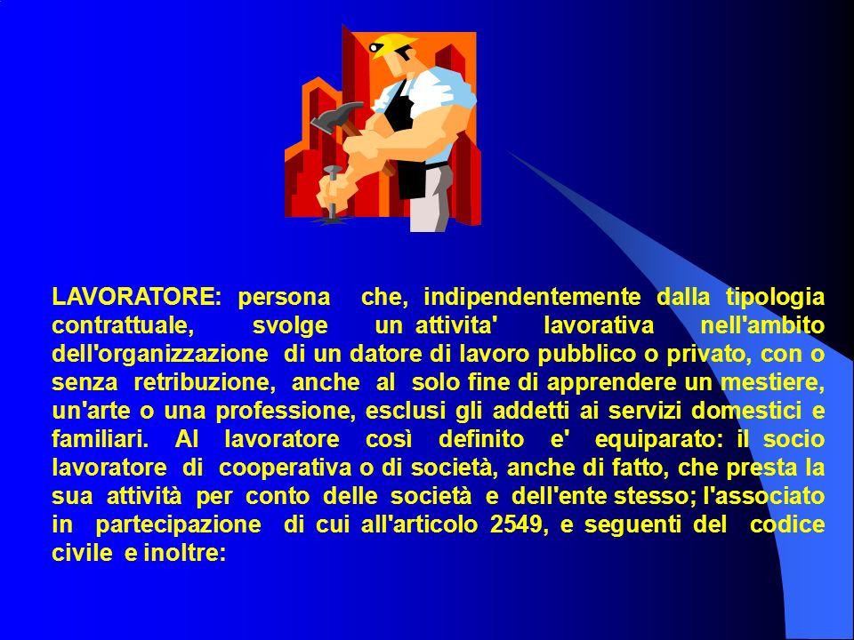 LAVORATORE: persona che, indipendentemente dalla tipologia contrattuale, svolge un attivita' lavorativa nell'ambito dell'organizzazione di un datore d