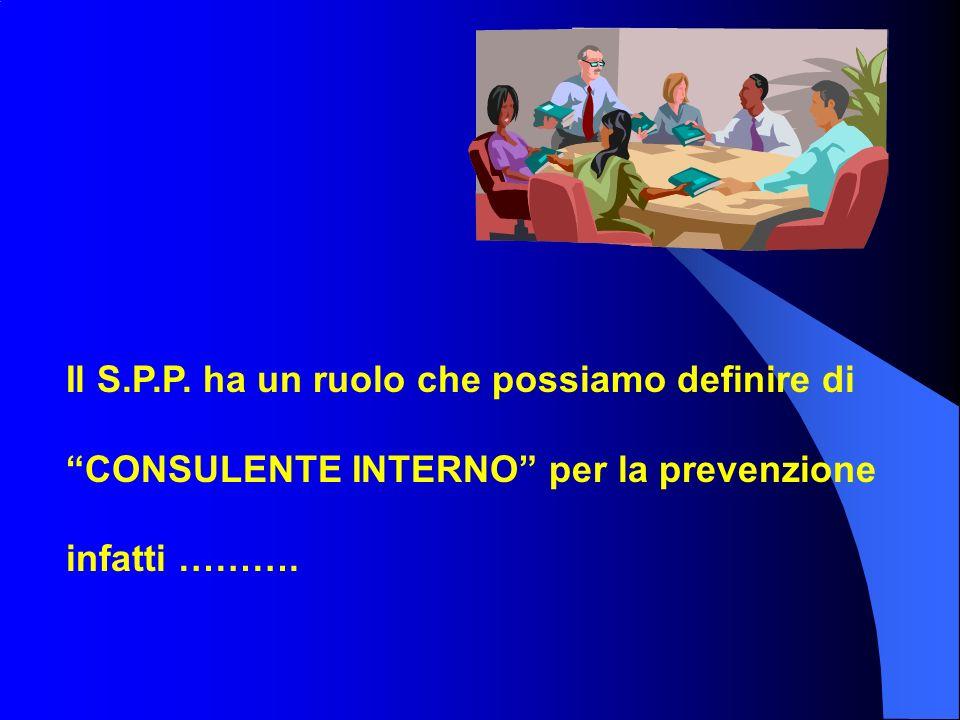 Il S.P.P. ha un ruolo che possiamo definire di CONSULENTE INTERNO per la prevenzione infatti ……….