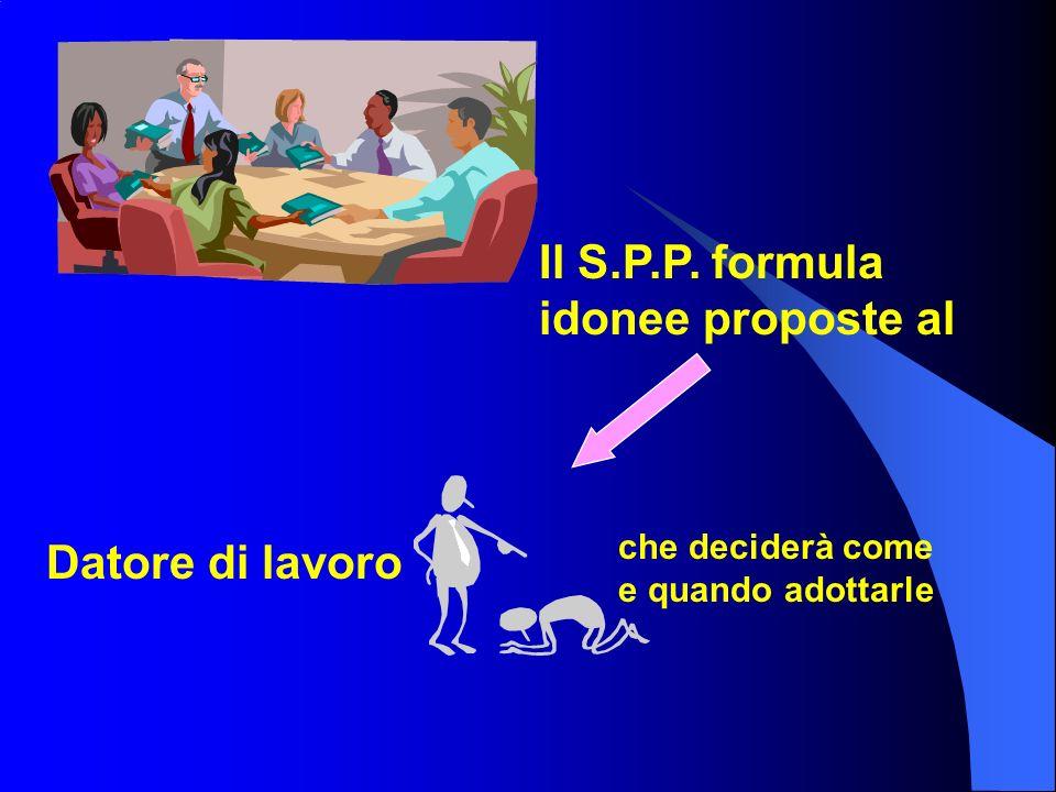 Il S.P.P. formula idonee proposte al Datore di lavoro che deciderà come e quando adottarle