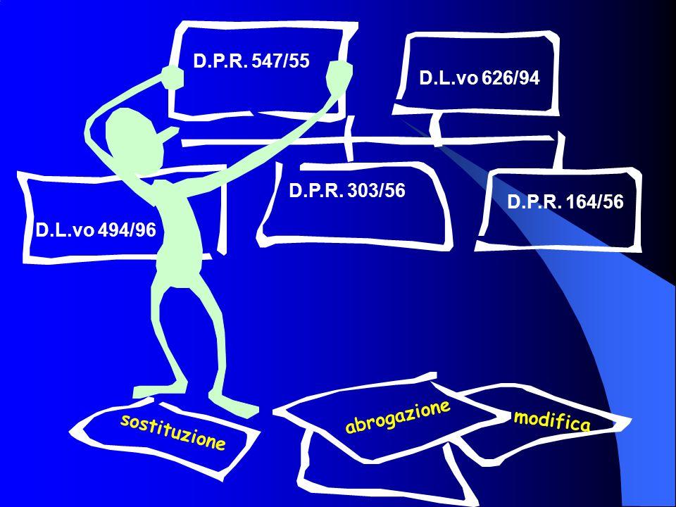 D.P.R. 547/55 D.P.R. 303/56 D.P.R. 164/56 D.L.vo 494/96 sostituzione abrogazione modifica D.L.vo 626/94