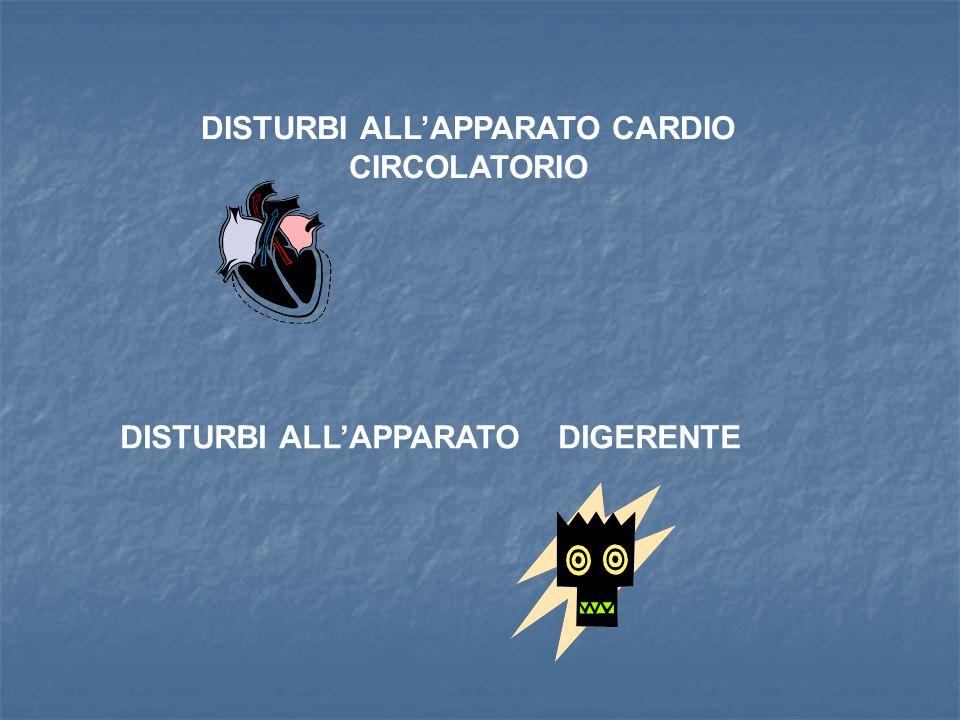 DISTURBI ALLAPPARATO CARDIO CIRCOLATORIO DISTURBI ALLAPPARATO DIGERENTE
