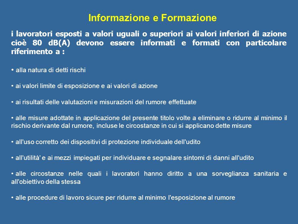 Informazione e Formazione i lavoratori esposti a valori uguali o superiori ai valori inferiori di azione cioè 80 dB(A) devono essere informati e forma