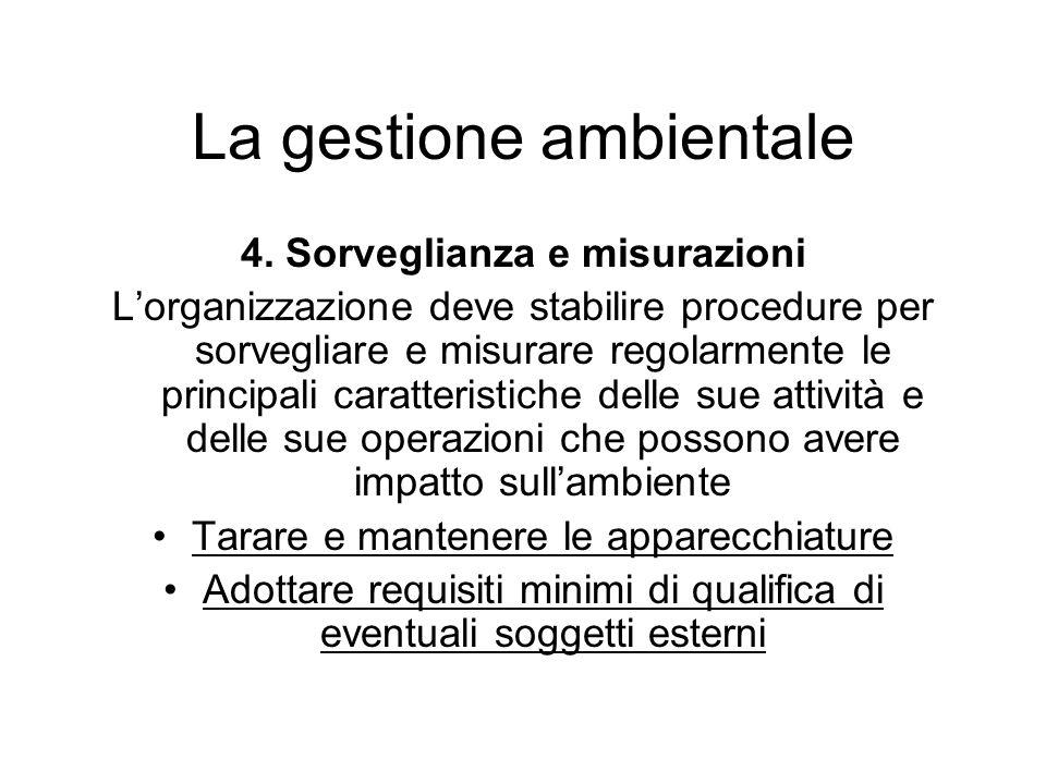4. Sorveglianza e misurazioni Lorganizzazione deve stabilire procedure per sorvegliare e misurare regolarmente le principali caratteristiche delle sue