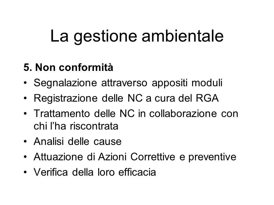 5. Non conformità Segnalazione attraverso appositi moduli Registrazione delle NC a cura del RGA Trattamento delle NC in collaborazione con chi lha ris