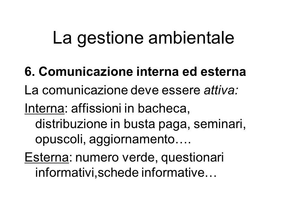 6. Comunicazione interna ed esterna La comunicazione deve essere attiva: Interna: affissioni in bacheca, distribuzione in busta paga, seminari, opusco