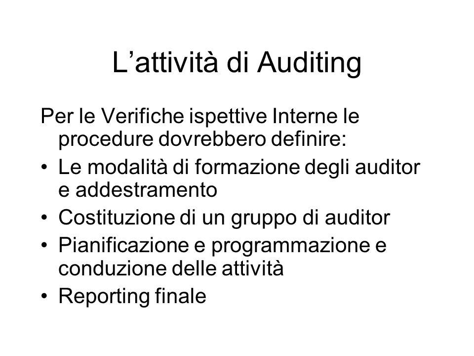 Lattività di Auditing Per le Verifiche ispettive Interne le procedure dovrebbero definire: Le modalità di formazione degli auditor e addestramento Cos