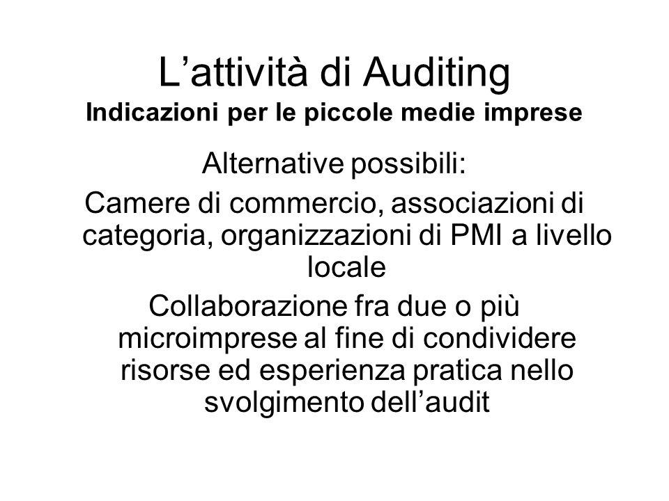 Alternative possibili: Camere di commercio, associazioni di categoria, organizzazioni di PMI a livello locale Collaborazione fra due o più microimpres