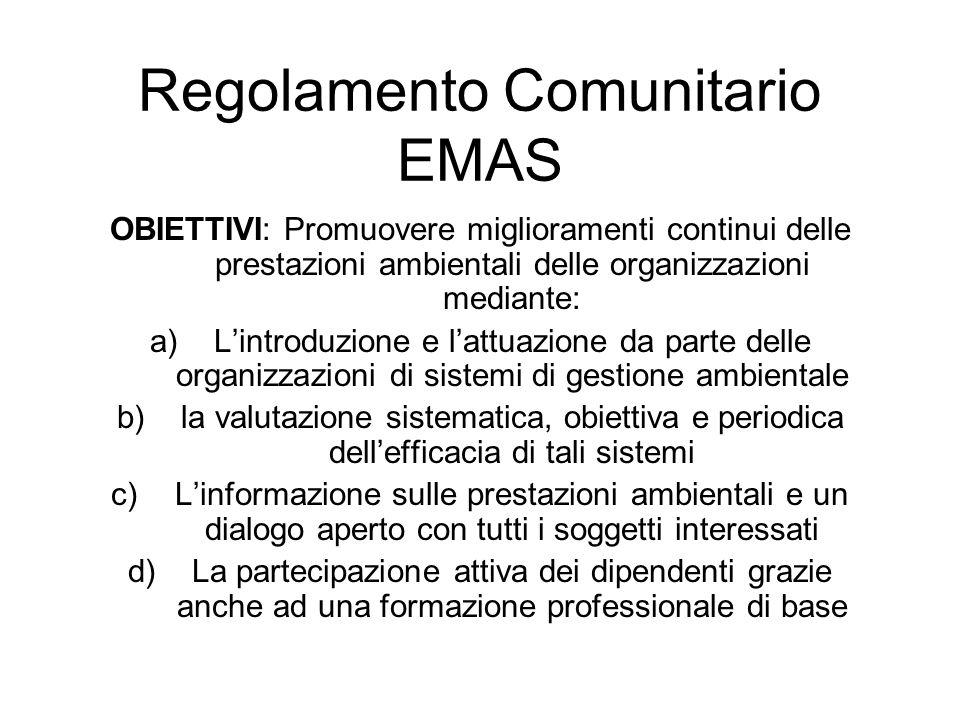 OBIETTIVI: Promuovere miglioramenti continui delle prestazioni ambientali delle organizzazioni mediante: a)Lintroduzione e lattuazione da parte delle