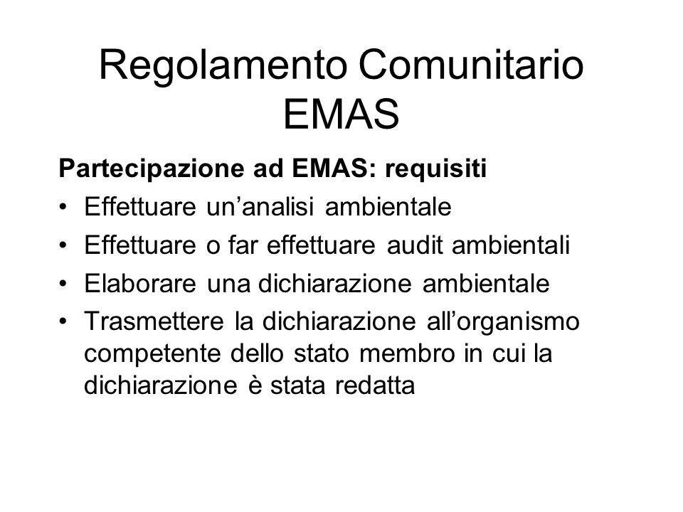 Partecipazione ad EMAS: requisiti Effettuare unanalisi ambientale Effettuare o far effettuare audit ambientali Elaborare una dichiarazione ambientale