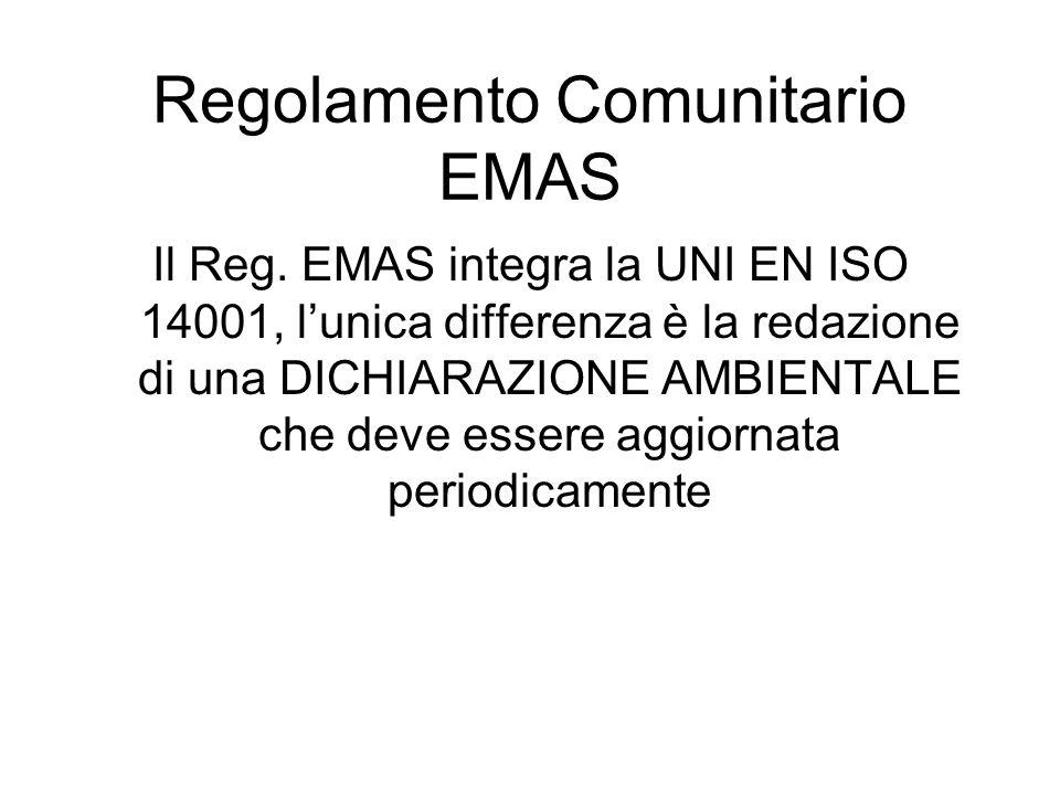 Il Reg. EMAS integra la UNI EN ISO 14001, lunica differenza è la redazione di una DICHIARAZIONE AMBIENTALE che deve essere aggiornata periodicamente R