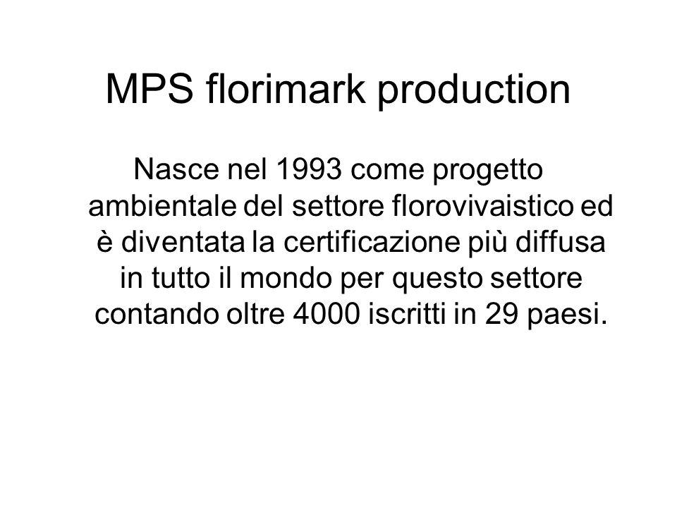 MPS florimark production Nasce nel 1993 come progetto ambientale del settore florovivaistico ed è diventata la certificazione più diffusa in tutto il