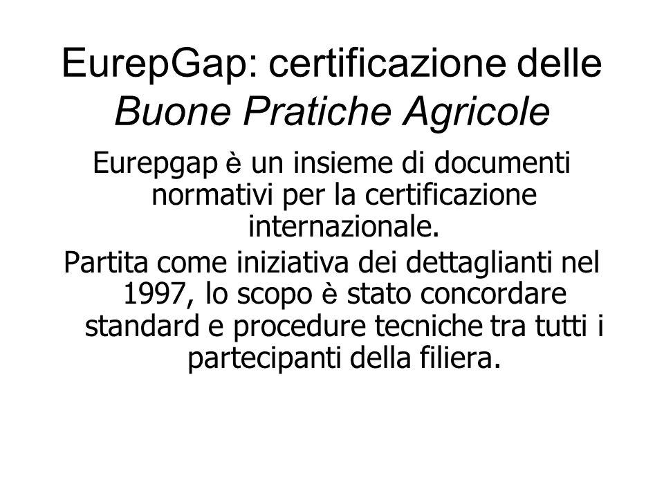 EurepGap: certificazione delle Buone Pratiche Agricole Eurepgap è un insieme di documenti normativi per la certificazione internazionale. Partita come