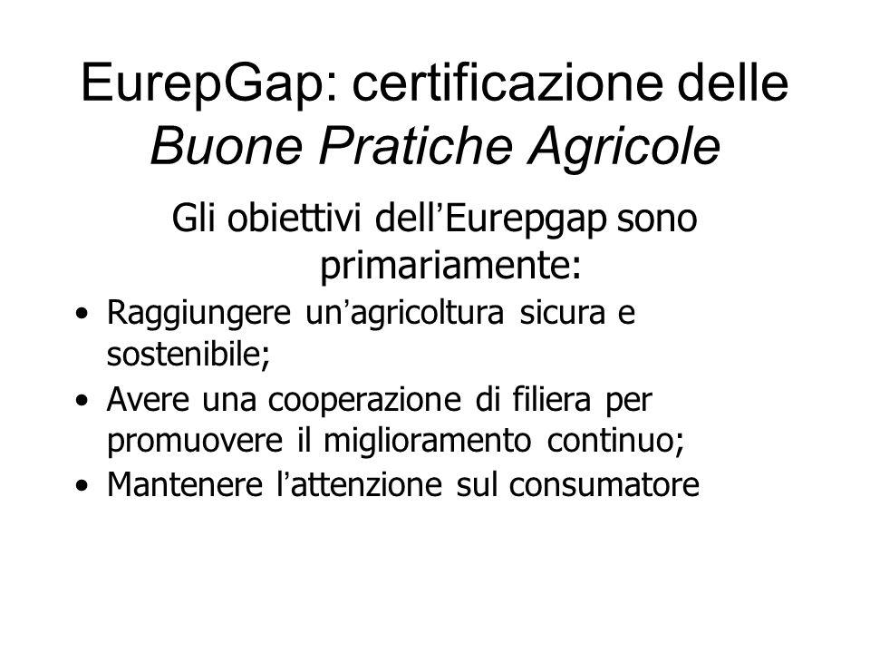 Gli obiettivi dell Eurepgap sono primariamente: Raggiungere un agricoltura sicura e sostenibile; Avere una cooperazione di filiera per promuovere il m