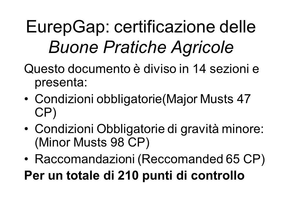 Questo documento è diviso in 14 sezioni e presenta: Condizioni obbligatorie(Major Musts 47 CP) Condizioni Obbligatorie di gravità minore: (Minor Musts