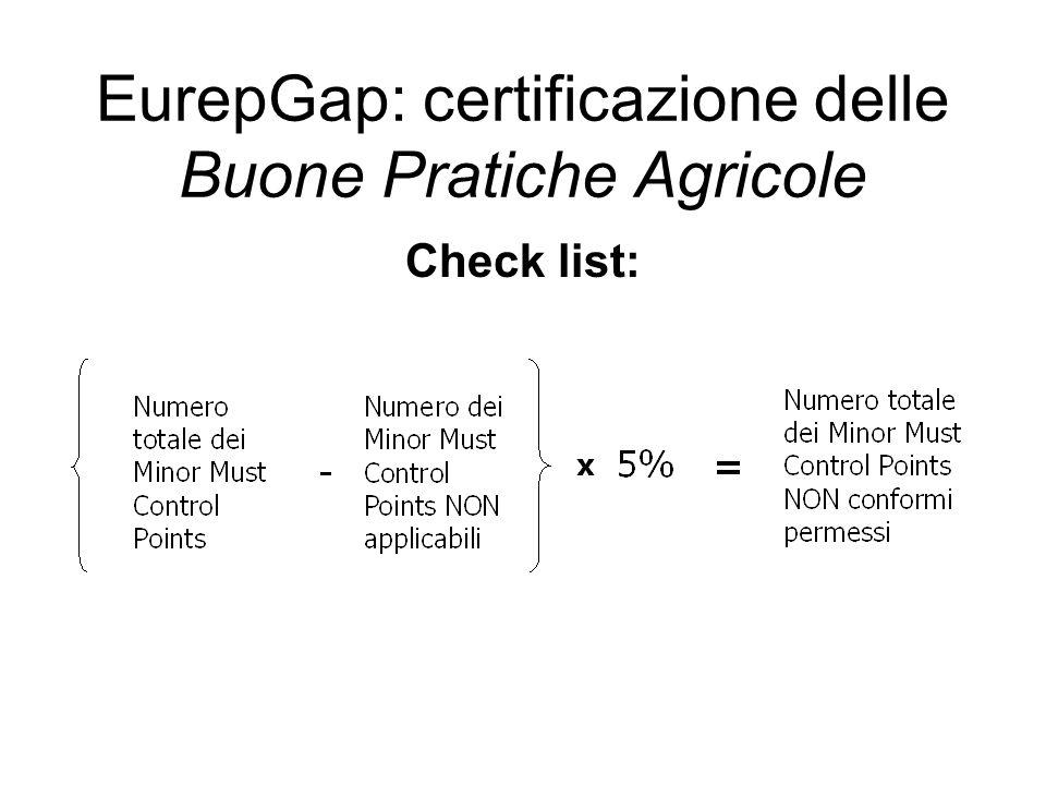 Check list: EurepGap: certificazione delle Buone Pratiche Agricole