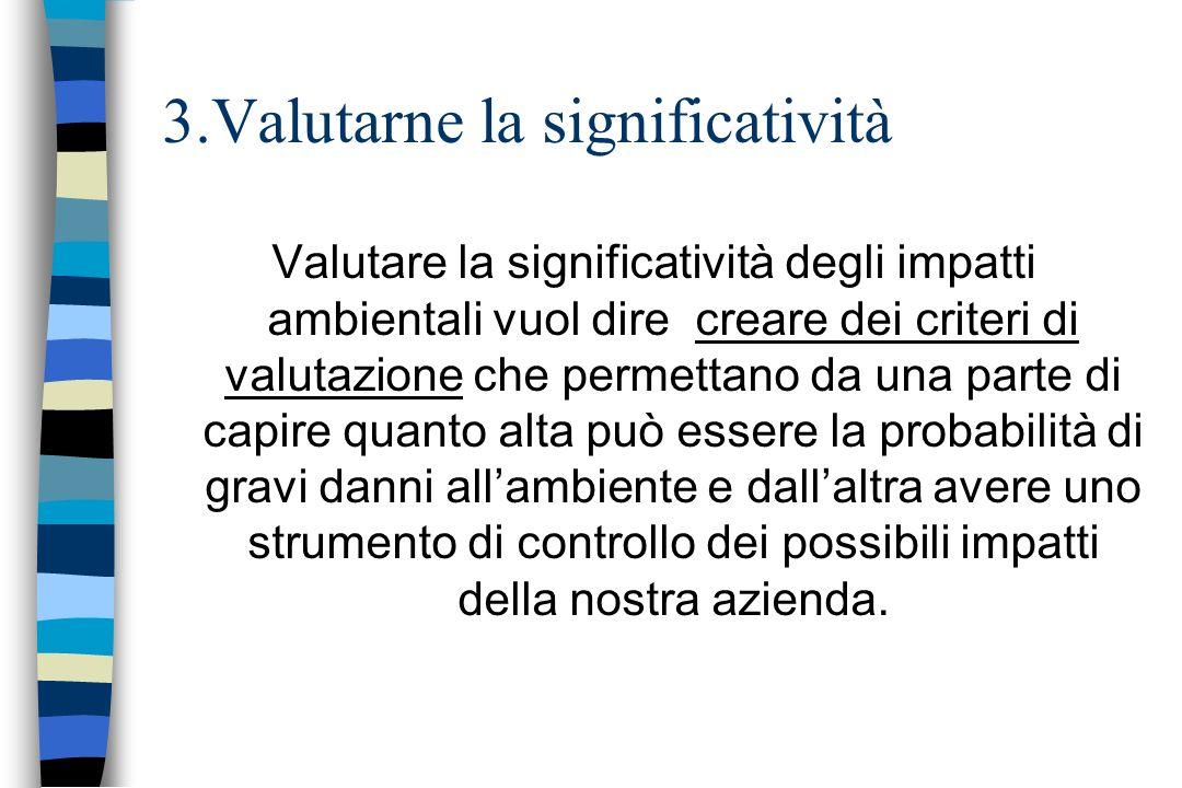 3.Valutarne la significatività Valutare la significatività degli impatti ambientali vuol dire creare dei criteri di valutazione che permettano da una