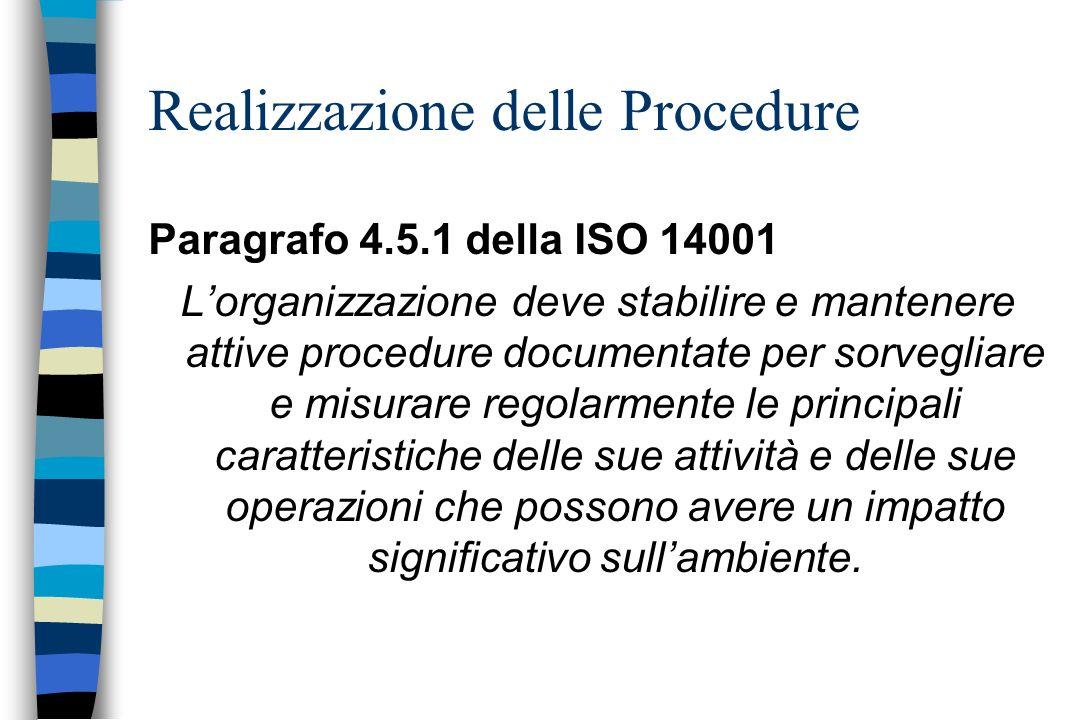 Realizzazione delle Procedure Paragrafo 4.5.1 della ISO 14001 Lorganizzazione deve stabilire e mantenere attive procedure documentate per sorvegliare