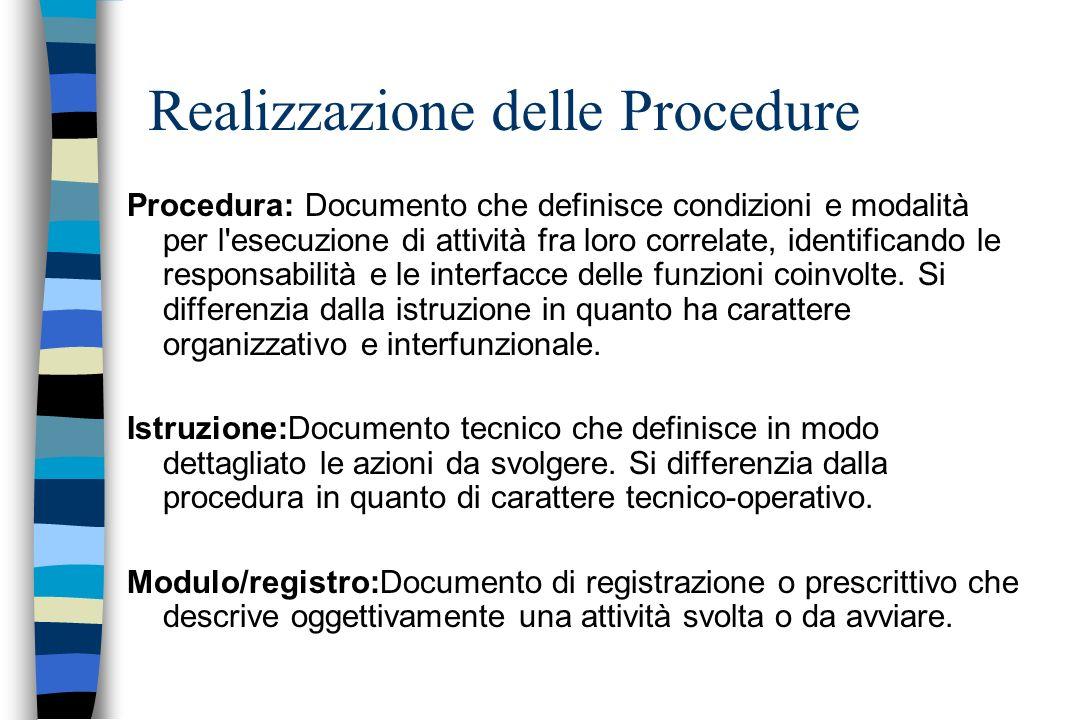 Procedura: Documento che definisce condizioni e modalità per l'esecuzione di attività fra loro correlate, identificando le responsabilità e le interfa