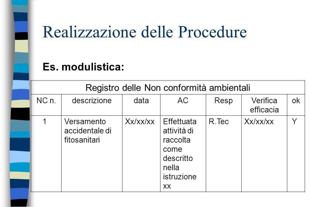Es. modulistica: Realizzazione delle Procedure Registro delle Non conformità ambientali NC n.descrizionedataACRespVerifica efficacia ok 1Versamento ac