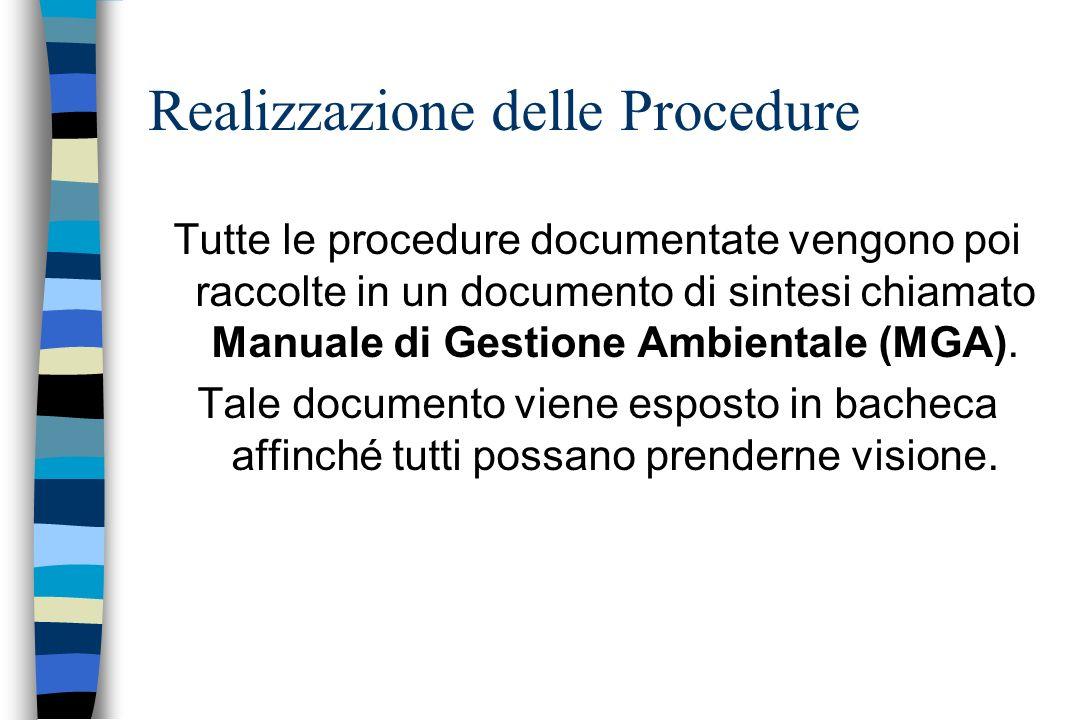 Tutte le procedure documentate vengono poi raccolte in un documento di sintesi chiamato Manuale di Gestione Ambientale (MGA). Tale documento viene esp