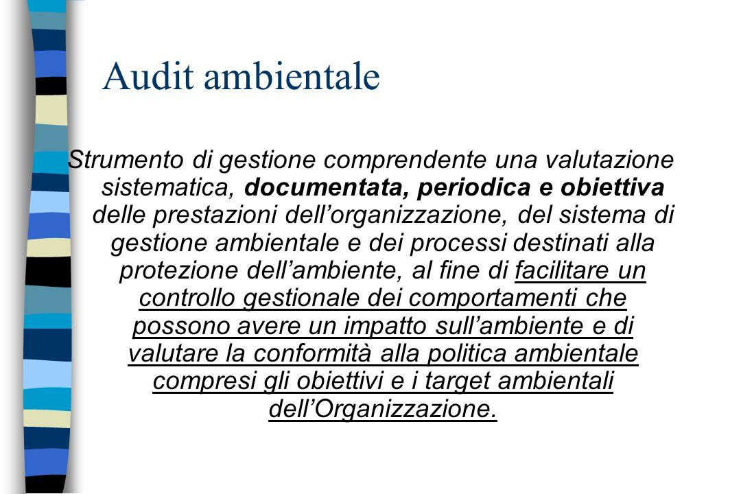 Audit ambientale Strumento di gestione comprendente una valutazione sistematica, documentata, periodica e obiettiva delle prestazioni dellorganizzazio