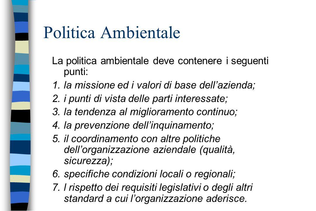 Politica Ambientale La politica ambientale deve contenere i seguenti punti: 1.la missione ed i valori di base dellazienda; 2.i punti di vista delle pa