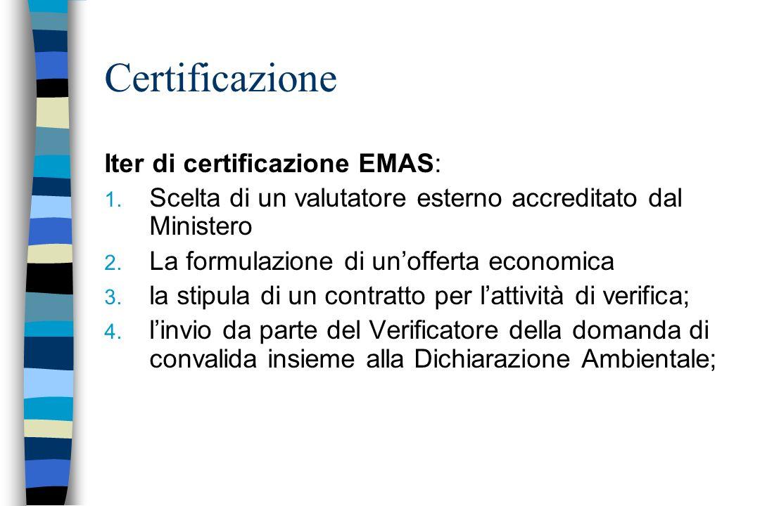 Iter di certificazione EMAS: 1. Scelta di un valutatore esterno accreditato dal Ministero 2. La formulazione di unofferta economica 3. la stipula di u