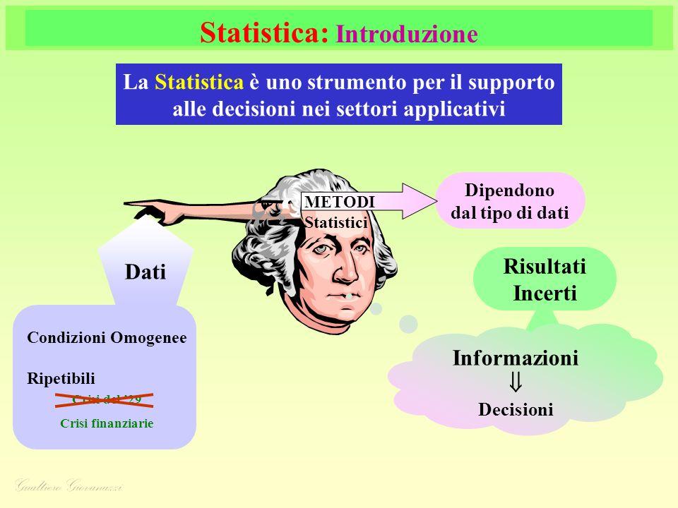 Statistica: Introduzione La Statistica è uno strumento per il supporto alle decisioni nei settori applicativi Dati Condizioni Omogenee Ripetibili Crisi del 29 Crisi finanziarie Dipendono dal tipo di dati METODI Statistici Risultati Incerti Informazioni Decisioni