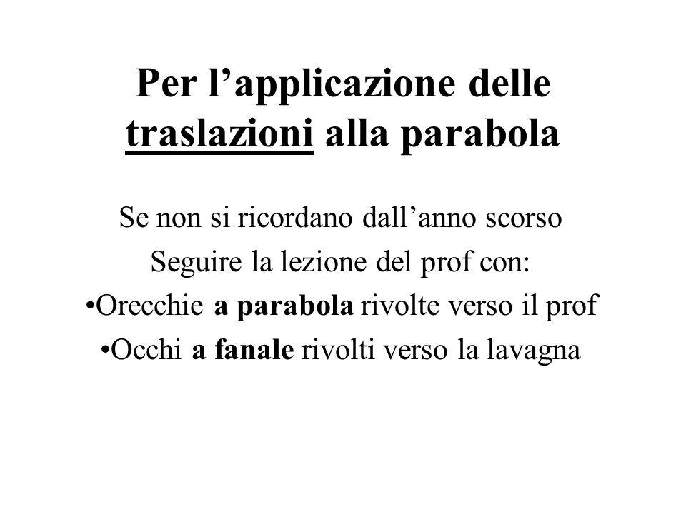 Per lapplicazione delle traslazioni alla parabola Se non si ricordano dallanno scorso Seguire la lezione del prof con: Orecchie a parabola rivolte ver