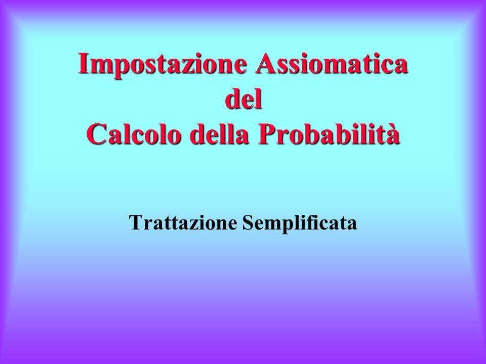 Impostazione Assiomatica del Calcolo della Probabilità Trattazione Semplificata