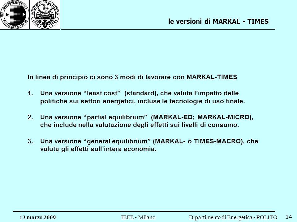 Dipartimento di Energetica - POLITO IEFE - Milano 13 marzo 2009 14 le versioni di MARKAL - TIMES In linea di principio ci sono 3 modi di lavorare con MARKAL-TIMES 1.Una versione least cost (standard), che valuta limpatto delle politiche sui settori energetici, incluse le tecnologie di uso finale.