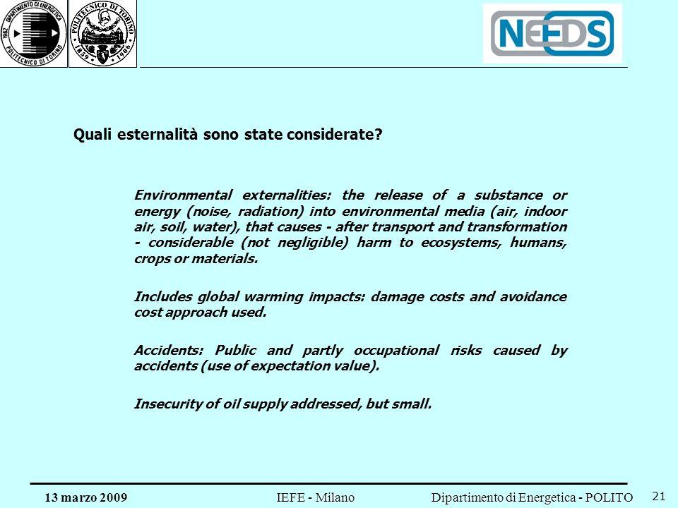 Dipartimento di Energetica - POLITO IEFE - Milano 13 marzo 2009 21 Quali esternalità sono state considerate? Environmental externalities: the release