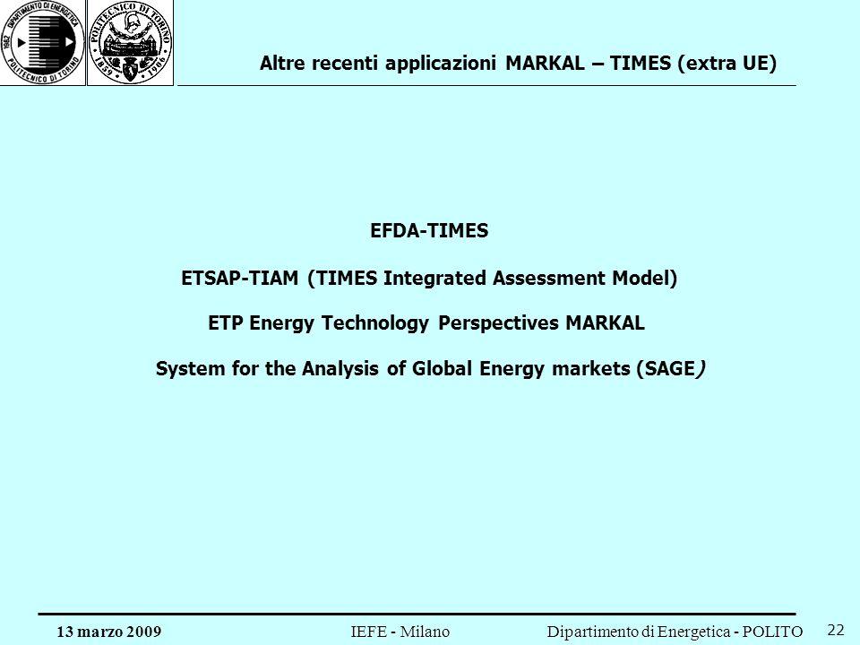 Dipartimento di Energetica - POLITO IEFE - Milano 13 marzo 2009 22 Altre recenti applicazioni MARKAL – TIMES (extra UE) ETP Energy Technology Perspect