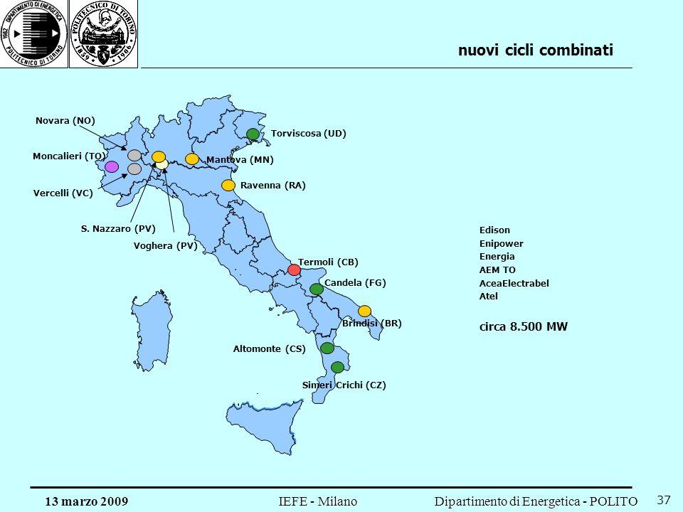 Dipartimento di Energetica - POLITO IEFE - Milano 13 marzo 2009 37 nuovi cicli combinati