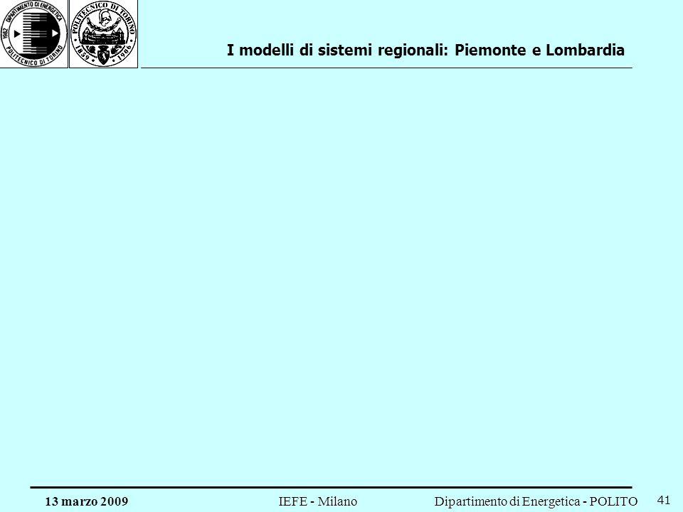 Dipartimento di Energetica - POLITO IEFE - Milano 13 marzo 2009 41 I modelli di sistemi regionali: Piemonte e Lombardia