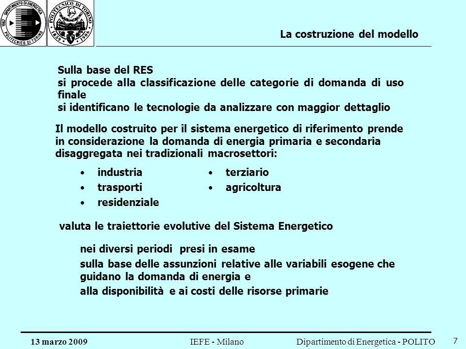 Dipartimento di Energetica - POLITO IEFE - Milano 13 marzo 2009 7 La costruzione del modello Sulla base del RES si procede alla classificazione delle