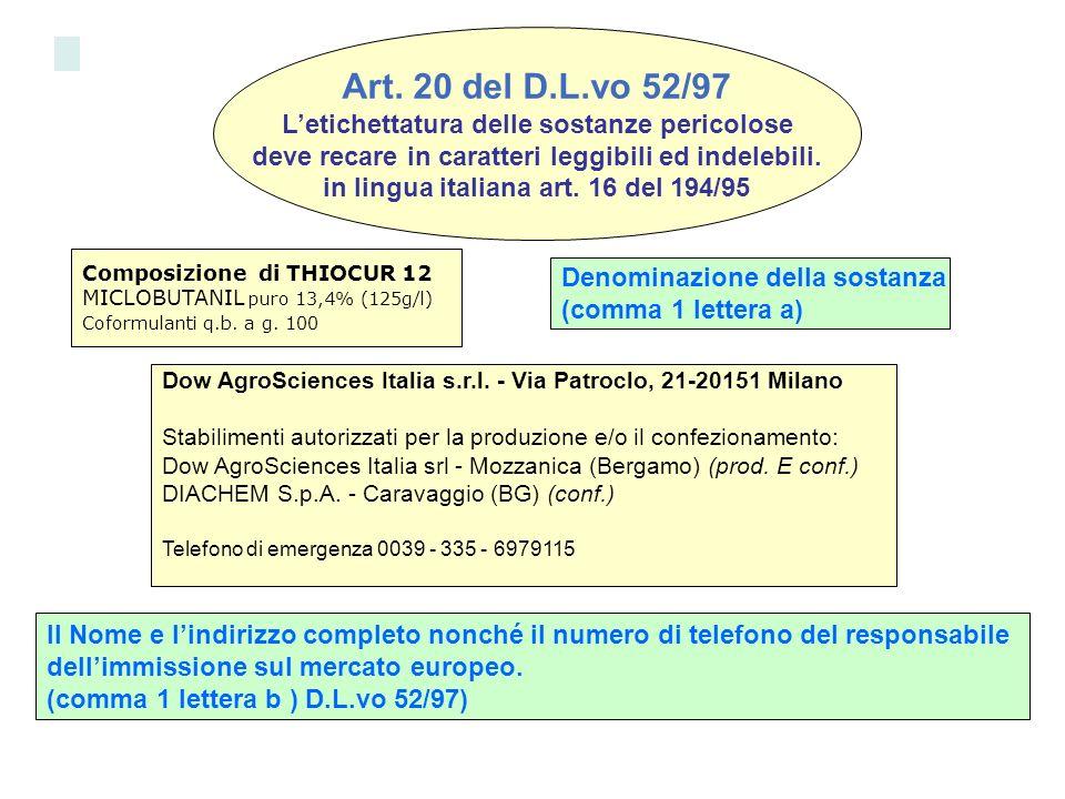 Art. 20 del D.L.vo 52/97 Letichettatura delle sostanze pericolose deve recare in caratteri leggibili ed indelebili. in lingua italiana art. 16 del 194