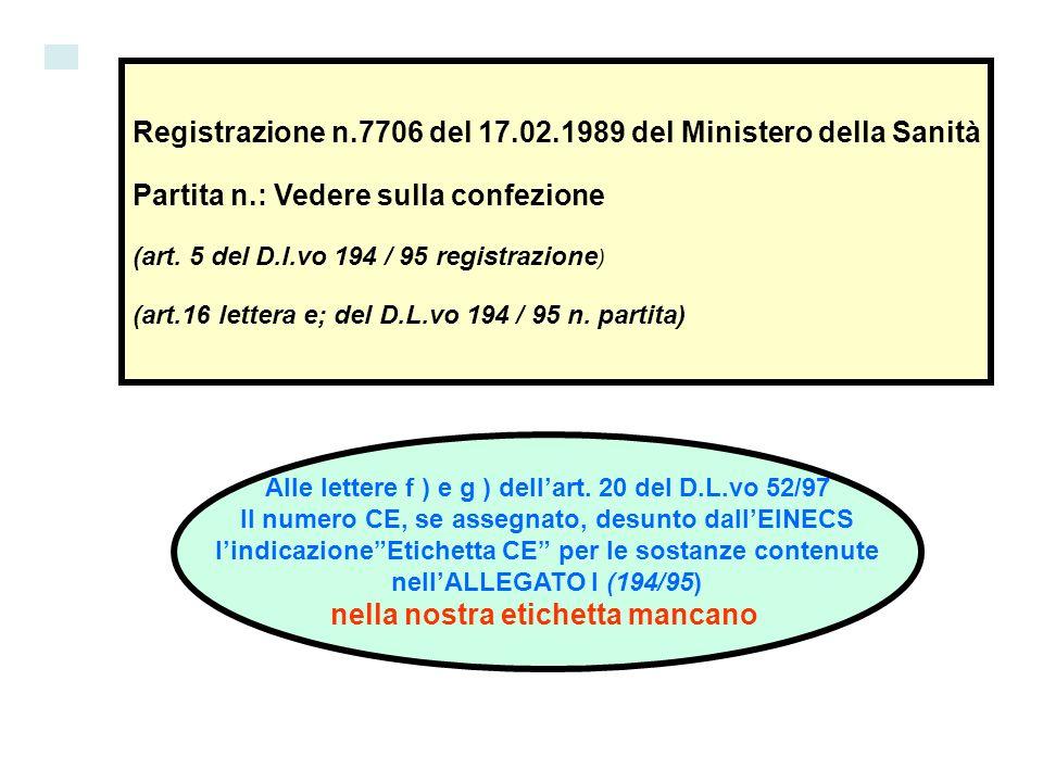 Registrazione n.7706 del 17.02.1989 del Ministero della Sanità Partita n.: Vedere sulla confezione (art. 5 del D.l.vo 194 / 95 registrazione ) (art.16