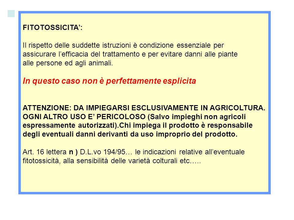 FITOTOSSICITA: Il rispetto delle suddette istruzioni è condizione essenziale per assicurare lefficacia del trattamento e per evitare danni alle piante