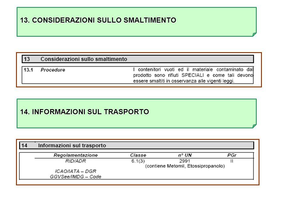 13. CONSIDERAZIONI SULLO SMALTIMENTO 14. INFORMAZIONI SUL TRASPORTO