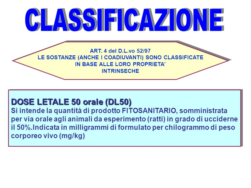 ART. 4 del D.L.vo 52/97 LE SOSTANZE (ANCHE I COADIUVANTI) SONO CLASSIFICATE IN BASE ALLE LORO PROPRIETA INTRINSECHE ART. 4 del D.L.vo 52/97 LE SOSTANZ