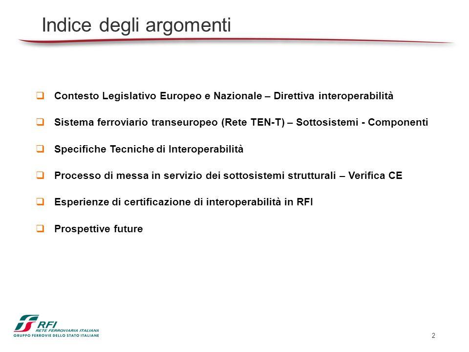 3 Contesto Legislativo Europeo e Nazionale Direttiva 2008/57/CE relativa allinteroperabilità del sistema ferroviario comunitario Direttiva 2009/131/CE che modifica lallegato VII della direttiva 2008/57/CE del Parlamento europeo e del Consiglio relativa allinteroperabilità del sistema ferroviario comunitario Direttiva 2011/18/UE che modifica gli allegati II, V e VI della direttiva 2008/57/CE del Parlamento europeo e del Consiglio relativa allinteroperabilità del sistema ferroviario comunitario Direttiva 2013/9/UE che modifica lallegato III della direttiva 2008/57/CE del Parlamento europeo e del Consiglio relativa allinteroperabilità del sistema ferroviario comunitario Raccomandazione 2011/217/UE relativa allautorizzazione di messa in servizio dei sottosistemi strutturali e veicoli a norma della direttiva 2008/57/CE del Parlamento Europeo e del Consiglio D.Lgs.