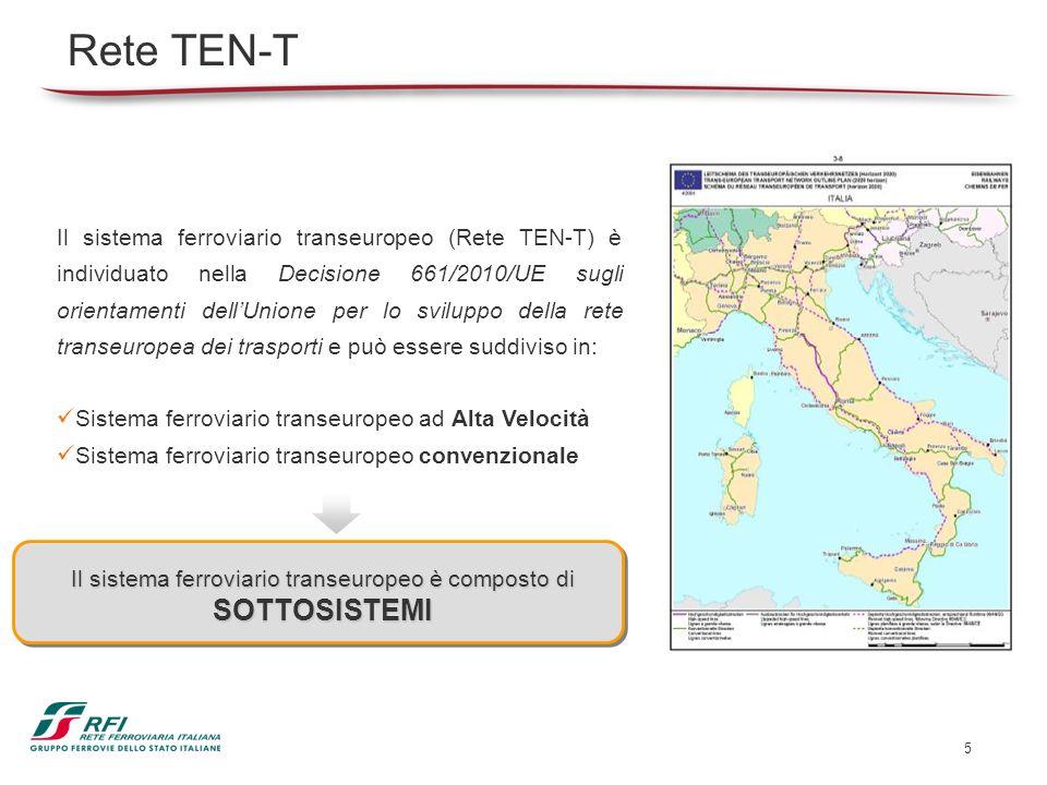 5 Rete TEN-T Il sistema ferroviario transeuropeo (Rete TEN-T) è individuato nella Decisione 661/2010/UE sugli orientamenti dellUnione per lo sviluppo