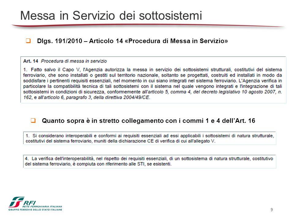 9 Dlgs. 191/2010 – Articolo 14 «Procedura di Messa in Servizio» Messa in Servizio dei sottosistemi Quanto sopra è in stretto collegamento con i commi