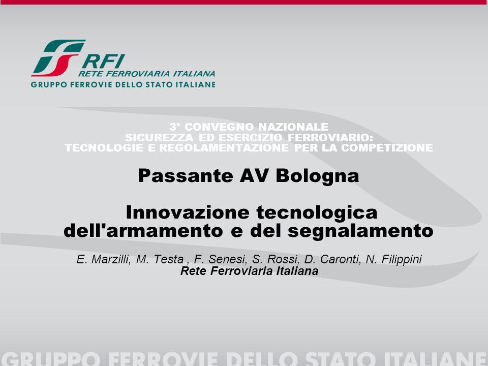 3° CONVEGNO NAZIONALE SICUREZZA ED ESERCIZIO FERROVIARIO: TECNOLOGIE E REGOLAMENTAZIONE PER LA COMPETIZIONE Passante AV Bologna Innovazione tecnologic