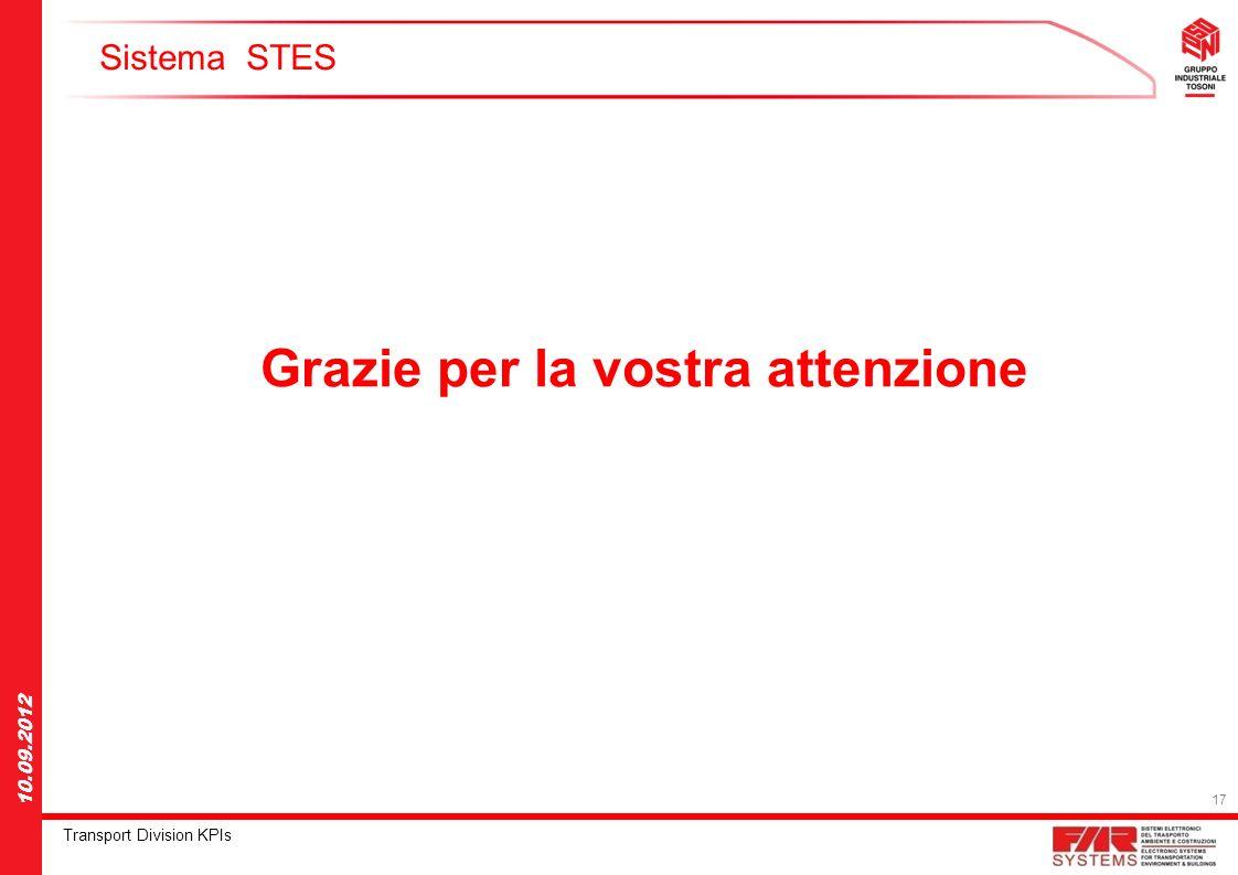 17 Transport Division KPIs 10.09.2012 Sistema STES Grazie per la vostra attenzione