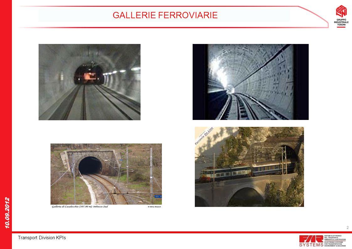 3 Transport Division KPIs 10.09.2012 GALLERIE FERROVIARIE MESSA IN SICUREZZA DELLE GALLERIE FERROVIARIE LINEE ELETTRICHE DI TRAZIONE ALLINTERNO DELLE GALLERIE IN ITALIA ci sono 1500Km di gallerie ferroviarie che non sono a norma per lo standard di sicurezza Europeo.