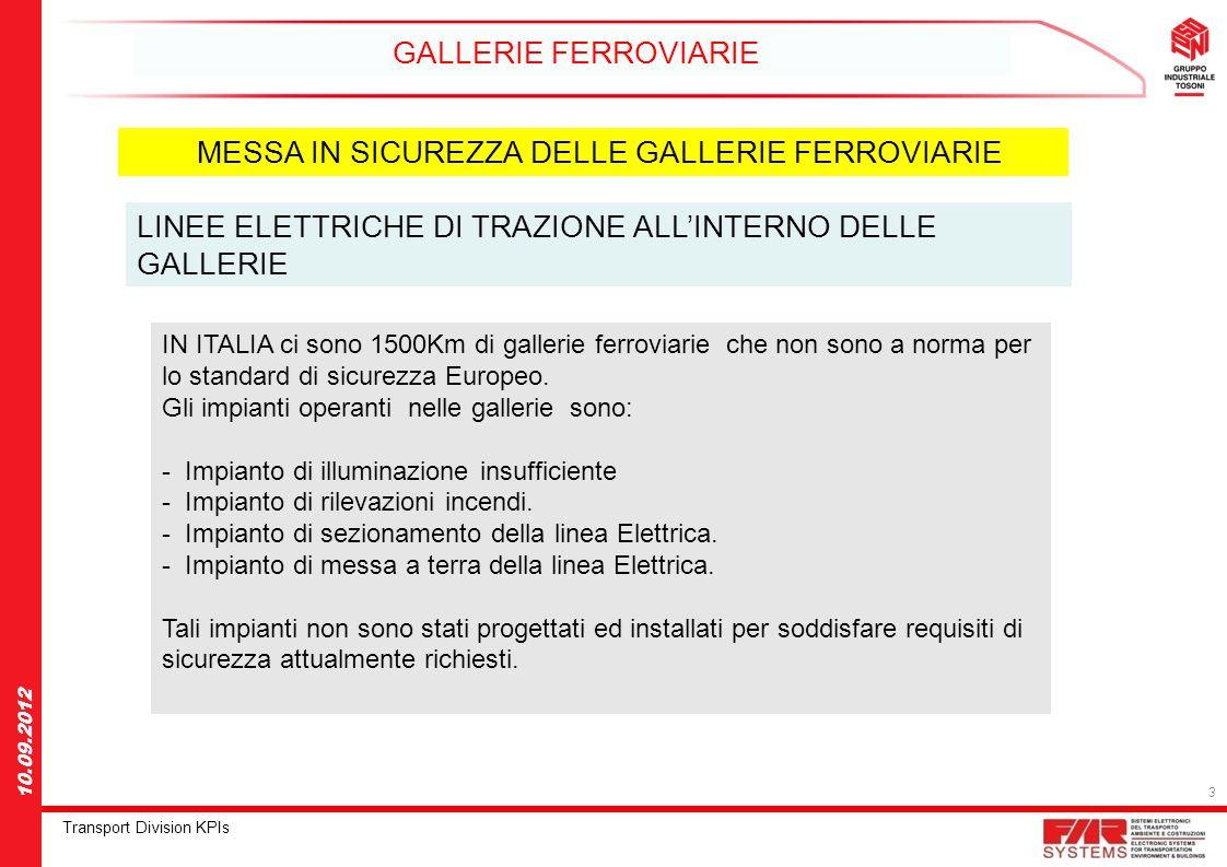 3 Transport Division KPIs 10.09.2012 GALLERIE FERROVIARIE MESSA IN SICUREZZA DELLE GALLERIE FERROVIARIE LINEE ELETTRICHE DI TRAZIONE ALLINTERNO DELLE